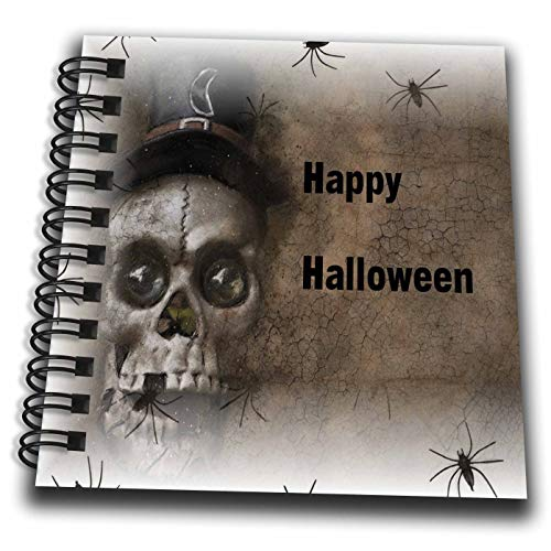 3dRose Halloween - Image of Scary Skull with Spiders Says Happy Halloween - Mini Notepad 4 x 4 inch -
