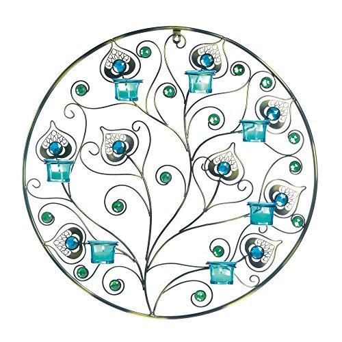 Peacock-Inspired Circular Wall Sconce -