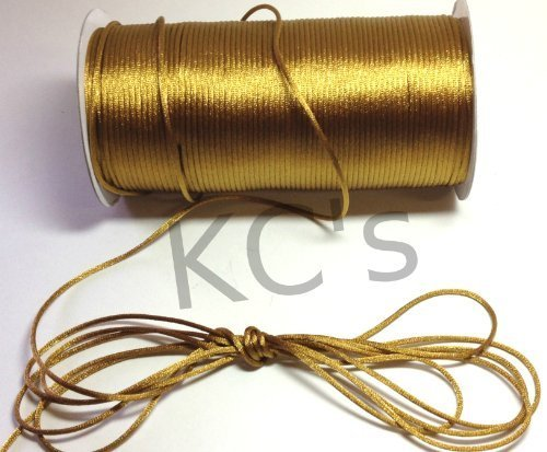 50 Yards - 2mm Old Gold Satin Rattail Cord Chinese/china Knot Rat Tail Jewelry Braid 100% Polyester
