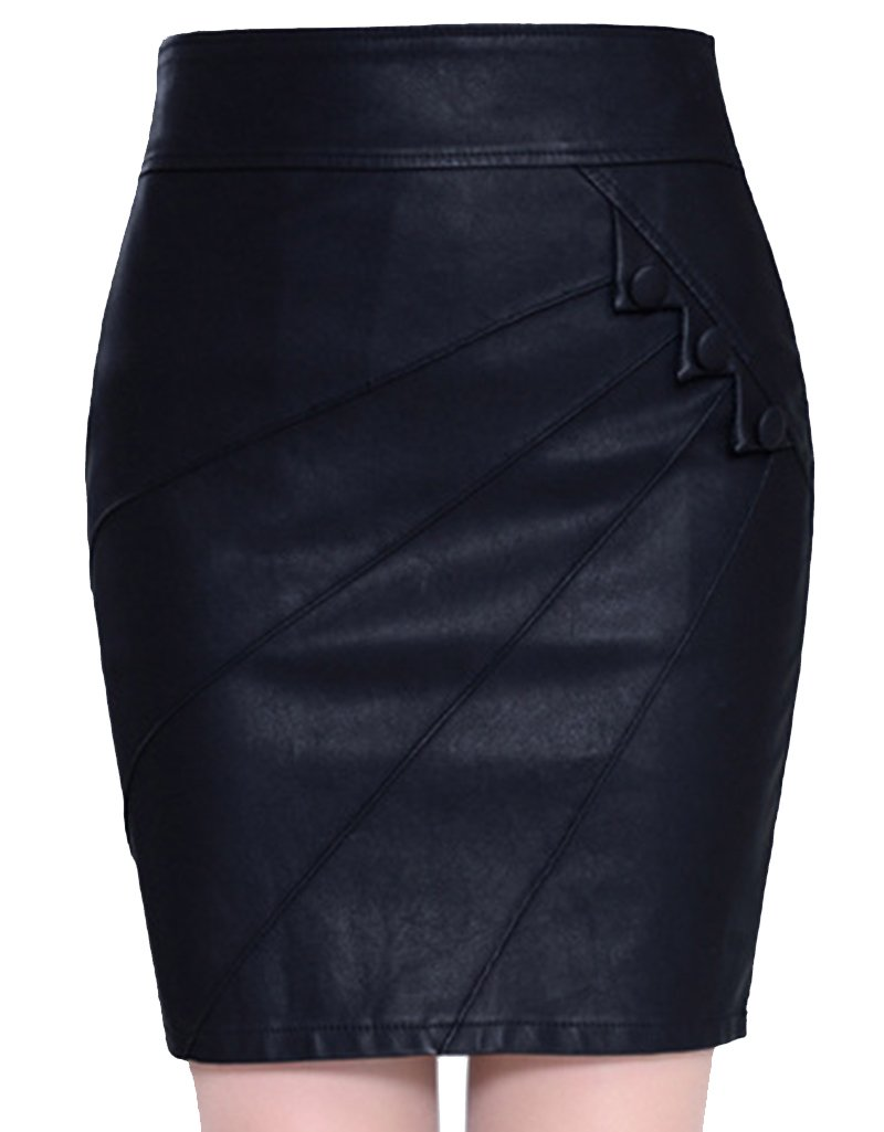 Helan Women's PU Leather Bodycone Skirt With Black Buttons X-Large Black