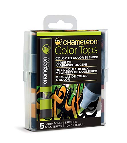 Chameleon Art Products, Earth Tones, Color Tops, Quick and Easy Blending - Set of 5