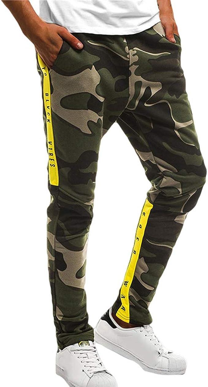 Fengduo Hombre Pantalón Deportivo Jogging Militar Pantalones de ...