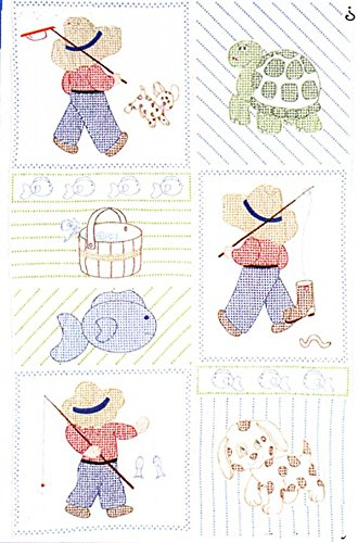 - Jack Dempsey Stamped Little Boys Quilt Crib Top, 40 by 60-Inch, White