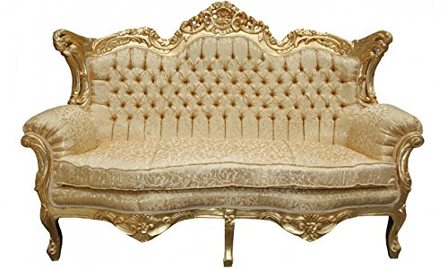 Casa Padrino Barock 2er Sofa Master Gold Muster / Gold 2Mod- Wohnzimmer Couch Möbel Lounge
