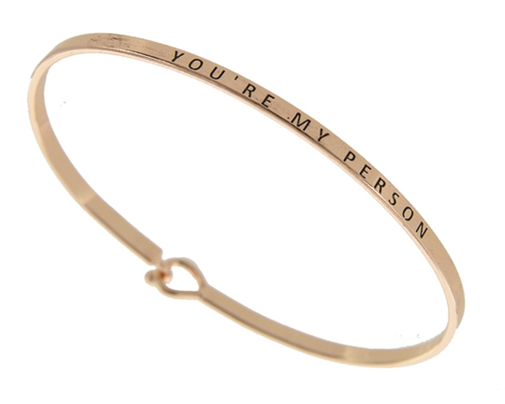 Story Collection Women's You're My Person 3mm Message Silver Plated Brass Bangle Bracelet (Rose Gold)
