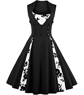 Aecibzo Vintage 1950s Plus Size Retro Rockabilly Pinup Cocktail Party Swing Dress