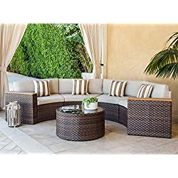 Solaura Outdoor Furniture 5-Piece Half-Moon Crescent Sectional Furniture Set Light Brown Wicker Patio with Beige Cushions & Sophisticated Glass Coffee Table