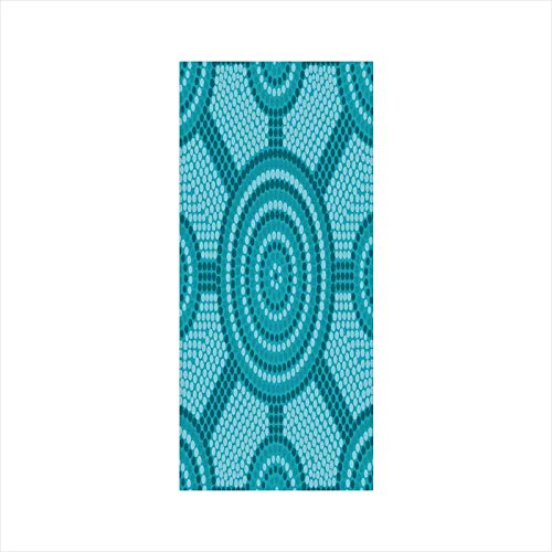 Decorative Window Film,No Glue Frosted Privacy Film,Stained Glass Door Film,Abstract Aboriginal Dot Painting Ancient Native Ethnic Cultural Art in Australia,for Home & Office,23.6In. by 47.2In Teal