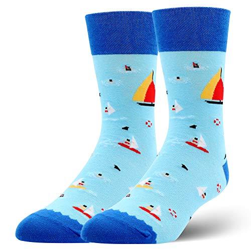 Socks Adventurer - Unisex Novelty Crazy Funny Crew Socks Colorful Cotton Patterned Boot Dress Socks for Men Women