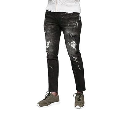 Vaqueros Slim Fit Rotos Hombre Pantalones Vaqueros Moto ...