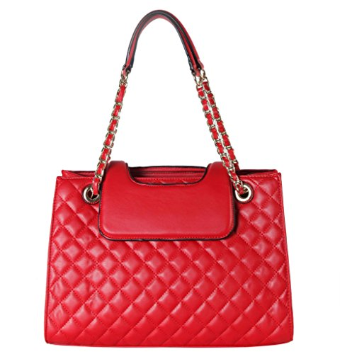 Rimen & Co. PU Leather Large Quilted Tote Accented with Chain Handle Womens Purse Handbag XX-3747