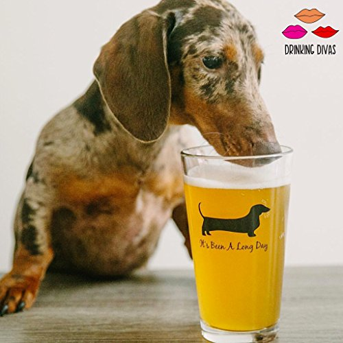 Drinking Divas - It's Been a Long Day - Dachshund Funny Novelty Beer Glass Perfect for Father's Day Gift Wiener Dog Gifts Beer Gifts Dog Beer Gifts Present ...