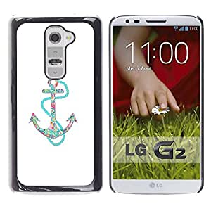 TopCaseStore / Snap On Hard Back Shell Rubber Case Protection Skin Cover - Minimalist White Teal Sailing - LG G2 D800 D802 D802TA D803 VS980 LS980