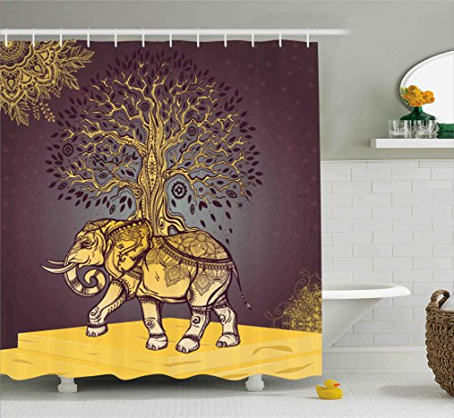Asian Elephant Animals - Ambesonne Ethnic Shower Curtain, Asian Elephant with Tree on Back Spiritual Animal Good Luck Symbol Art, Fabric Bathroom Decor Set with Hooks, 70 Inches, Dark Mauve Golden Yellow