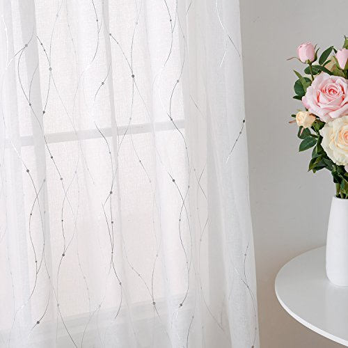 Panel 84l (Deconovo Rod Pocket White Sheer Curtains 84 Dots Printed Curtains Linen Look Volie Sheer Window Curtain for Bedroom 52W x 84L Silver 2 Panels)