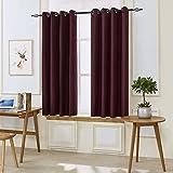 "dark grey curtains ikea DyFun 2 Panels Linen Thermal Insulated Window Treatment Grommet Top Blackout Window Curtains /Drapes(52""×63"", Dark Red)"