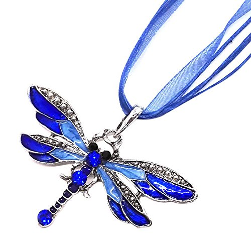 Orcbee  _Dragonfly Style Diamond Necklace Pendant Sweater Chain Jewels Birthday Gift for Women (Blue)