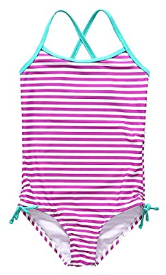 Sociala Girls Ruffle One Piece Swimsuit Striped Leaf Print Bathing Suits