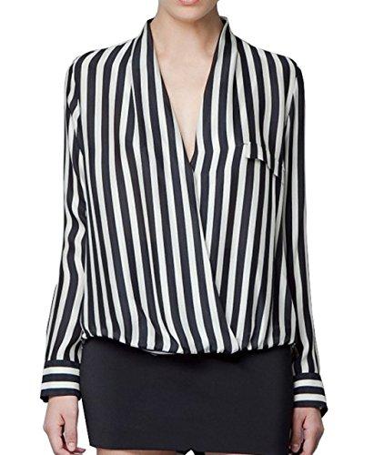 Printemps Noir V et Shirt Blouses Longues Chemisiers Tops Femmes New Automne Casual Manches T Shirt Haut Rayure Col TAUOqwE