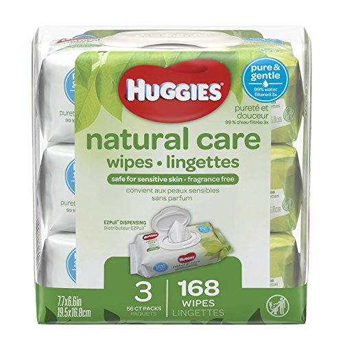 HUGGIES Natural Care Unscented Baby Wipes, Sensitive, Water-Based, 3 Packs, 9 Total Flip Top Packs, 504 Total Wipes ()