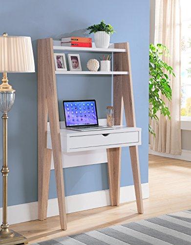 Smart home Modern Home Office Furniture Ladder Desk (White/Weathered White)
