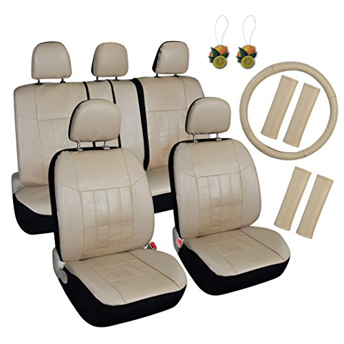 Leader Accessories Auto Car Seat Covers 17pcs Combo Pack Beige Front + Split Rear + Headrest Cover, Airbag Compatible, Seat Belt Pads, Steering Wheel Cover