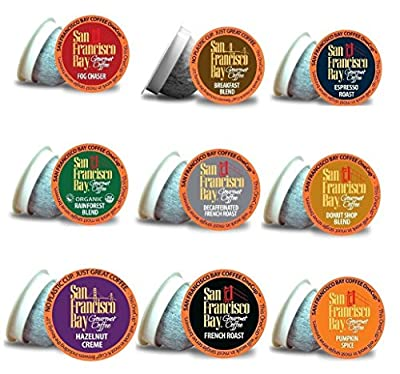 San Francisco Bay Onecup Variety Pack 90 Count Single Serve Coffee, Breakfast Blend - Donut Shop - Espresso - Fog Chaser - French Roast - Hazelnut - Pumpkin Spice - Rainforest - Decaf French Roast