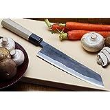 Yoshihiro Mizu Yaki Blue High Carbon Steel Super Kurouchi Kiritsuke Multipurpose Chef Knife (9.5 IN)
