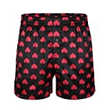 MSemis Men's Silk Lips/Heart Printed Classic Satin Boxers Shorts Summer Lounge Underwear Beach Shorts Black Love Heart Print Large (Waist 29.5''-46.0'')