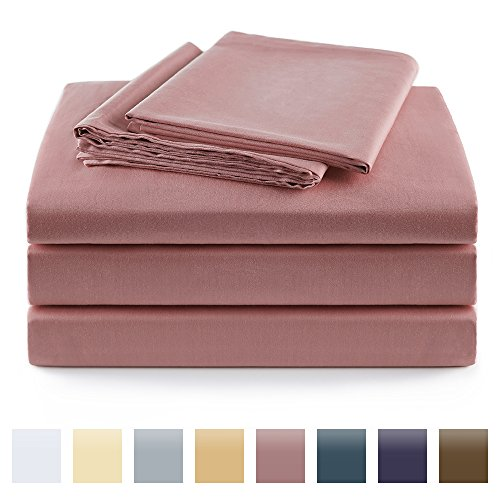 Cameo Cover Set (100% Cotton Sheets Egyptian Quality,4 Piece Bed Sheet Set,400 Thread Count Sateen Weave,Fade Resistant (King, Cameo brown))