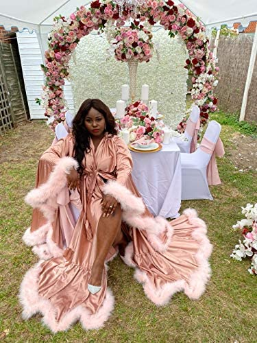 yinyyinhs Women's Feather Bridal Robe Wedding Scarf Long Lingerie Robe Nightgown Bathrobe Sleepwear with Belt