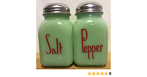 Jade Green /& White Salt and Pepper Shakers