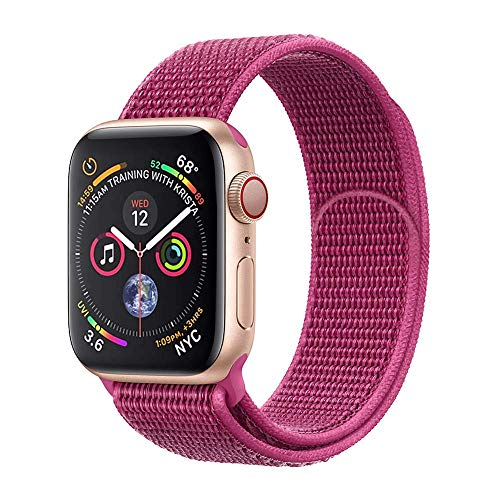 E-Top Parts Sport Band Compatible with Apple Watch 38mm 40mm 42mm 44mm, Soft Lightweight Breathable Nylon Sport Loop, Strap Replacement for iWatch Series 4/3/2/1 (Dragon Fruit, - Nylon Dragon