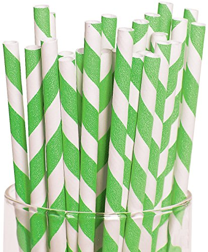 Lime Green Striped Straws Paper
