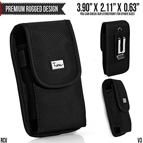 LG AX380 Belt Pouch, TMAN [Rugged Vertical] Metal Clip Holster / Hook Loop Closure Cover with Belt Loop Carrying Protective - Fits Cellphone without any Case (Lg Phone Case Ax380)