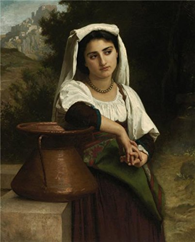 'Adolphe William Bouguereau,Italian Woman At The Fountain,1869' Oil Painting, 20x25 Inch / 51x63 Cm ,printed On Perfect Effect Canvas ,this Cheap But High Quality Art Decorative Art Decorative Prints On Canvas Is Perfectly Suitalbe For Bar Gallery Art And Home Artwork And Gifts