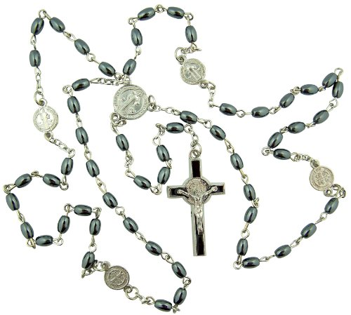 Mens 7MM Oval Simulated Hematite Bead Religious Saint St Benedict Protection Medal Daily Prayer Rosary ()