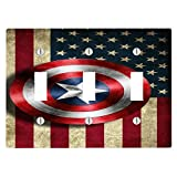 Old Style American Flag With Captain America Shield Design Print Image 3 Toggle Electrical Switch Wall Plate (6.56 x 4.69in)
