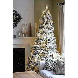 KING OF CHRISTMAS 6 Foot Prince Flock Christmas Tree with 350 UL Warm White LED Lights