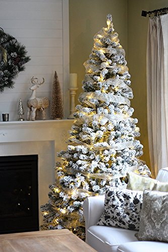 KING OF CHRISTMAS 6 Foot Prince Flock Christmas Tree with 350 UL Warm White LED Lights (Artificial Tree Frosted Christmas)