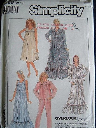 SIMPLICITY SEWING PATTERN 8310 MISSES NIGHTGOWNS, ROBE, BED JACKET AND PAJAMAS SIZE S-XL (BUST 30 1/2 - 46 INCHES) SERGER OR CONVENTIONAL SEWING