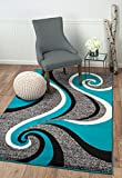 Summit CA-ABZ1-LLYD 37 New Grey Torquoise Area Rug Modern Abstract Many Available , 22 INCH X 35 INCH SCATTER DOOR MAT SIZE