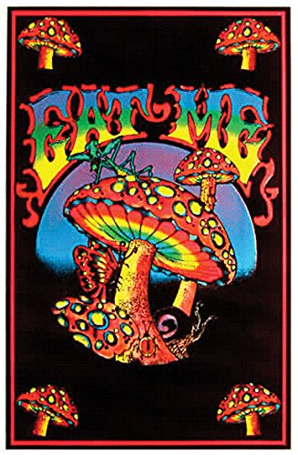 ER - Eat Me Mushroom Flocked 23x35 Blacklight Poster Print, 23x35 (Mushroom Blacklight Poster)