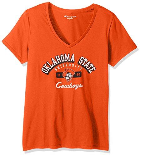 Champion NCAA Women's University Short Sleeve Tagless V-Neck Tee Oklahoma State Cowboys Small - Oklahoma Ladies T-shirt
