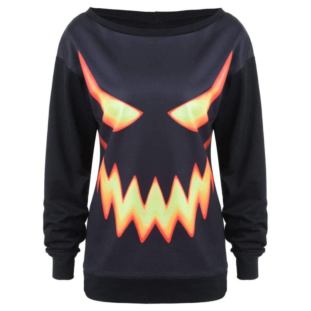 Big Promotion Women's Halloween Pumpkin Face Printed ODGear Black Hoodies Long Sleeve Sweatshirt Tops Clearance
