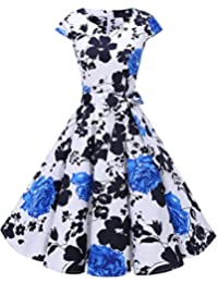 Dresstells® Women's Retro 1950s Bridesmaid Cocktail Rockabilly Cap-Sleeves Polka Dots Vintage Dress