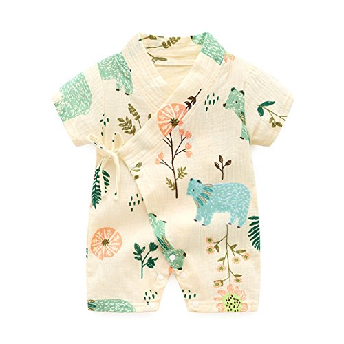 Organic Cotton Kimono Onesie - PAUBOLI Kimono Robe Newborn Cotton Yarn Robe Baby Romper Infant Japanese Pajamas (3-6 Months, Forest)