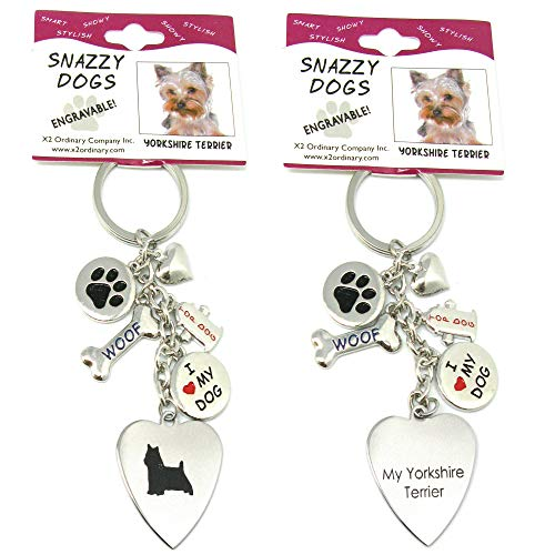 Yorkshire Terrier Keychain for Women, Girls, Boys, Men - Engraved Stainless Steel Dog Key Ring with Charms - Cute I Love My Dog Key Fob Gift - Cute Pet Accessories by Frogsac USA