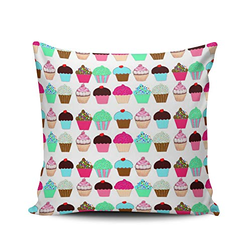 MUKPU Colorful Delish Love Cupcakes Dessert Home Decor Sofa Pillowcase 20X20 Inch Square Throw Pillow Case Hidden Zipper Double-Sided -