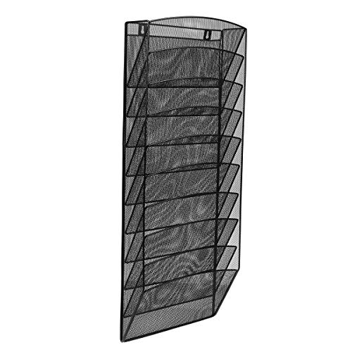 AdirOffice Steel Mesh Magazine Wall Rack - Functional Opaque Magazine Organizer - Great for Lobbies Reception Areas & More (10 Pocket, Black)